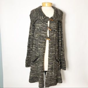 PRANA Tweed Cardigan Duster Toggle Button Boho
